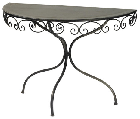Swirley Demilune Table, Black.