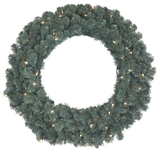 "30"" Blue Spruce Wreath With 50 Ul Pre-Lit Lights."