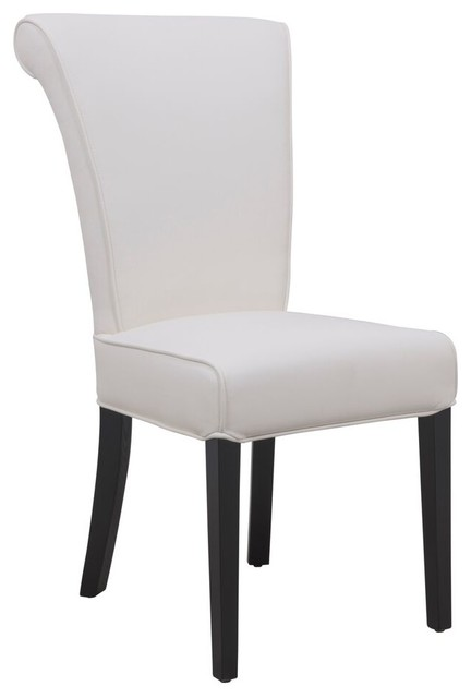 Leisuremod eden contemporary faux leather dining chair for Modern white leather dining chairs