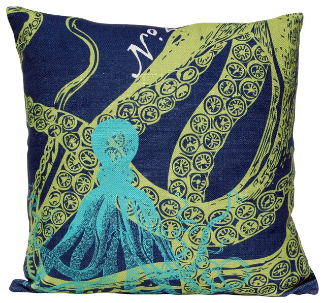 Beach Style Decorative Pillows : Octopus Pillow, Ocean - Beach Style - Decorative Pillows - by Coastal Style Gifts