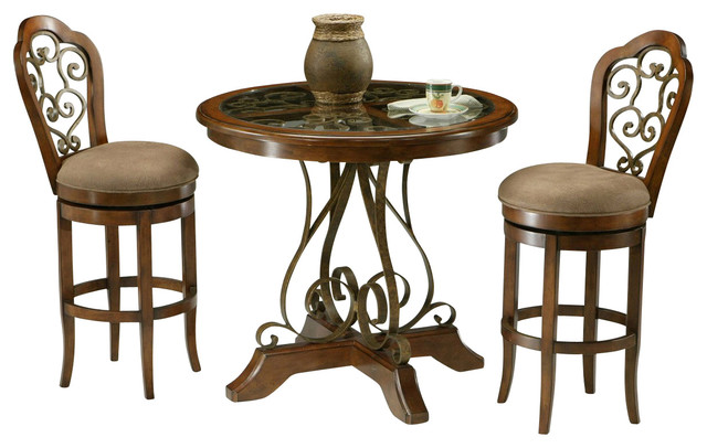 Pastel Carmel 3 Piece Round Wood Pub Set Traditional