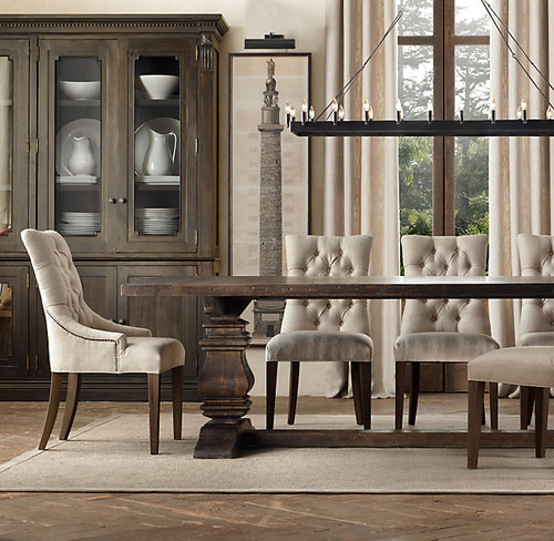 ... Breakfast Area. Are The Chairs Too Formal For This Area? I Like The  Look Of Linen Chairs With The Rustic Tables, Just Not Into The Wood Chairs.