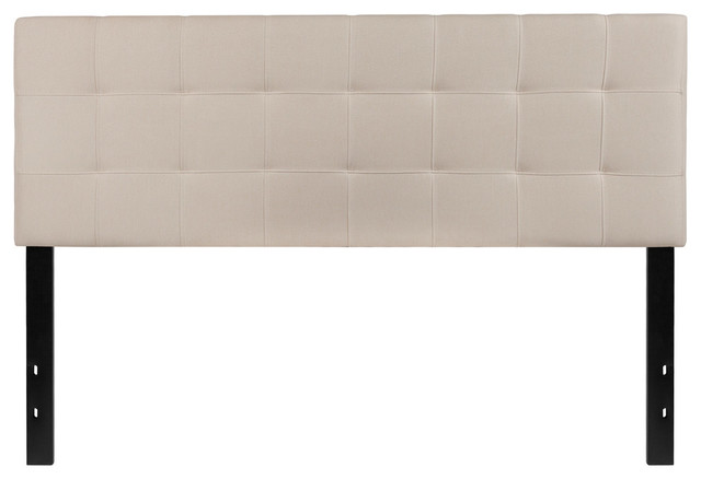 Bedford Tufted Upholstered Queen Size Headboard, Beige Fabric.