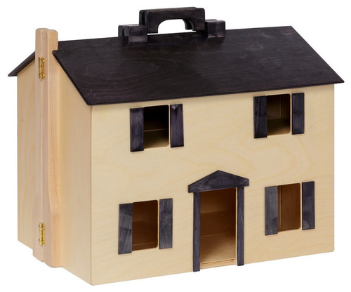Furnished Wood Dollhouse With Wooden Furniture, Natural