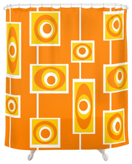 orange retro flowers shower curtain