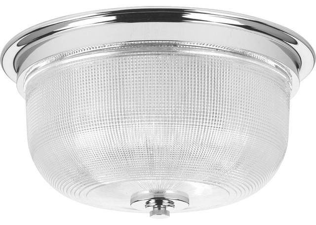 Archie 2-Light Flush Mount, Polished Chrome, Clear Prismatic Glass.