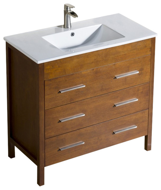 Bathroom Vanity Morris 36 With Porcelain Sink Top Contemporary