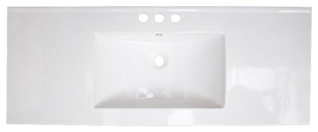 48.75x22 Ceramic Top, White Color For 8o.c. Faucet.