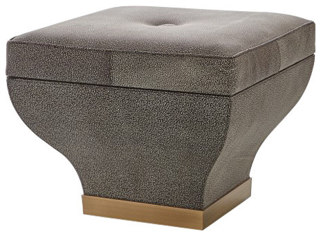 Admirable Curved Faux Shagreen Leather Storage Bench Ottoman Seat Midcentury Gold Bronze Theyellowbook Wood Chair Design Ideas Theyellowbookinfo