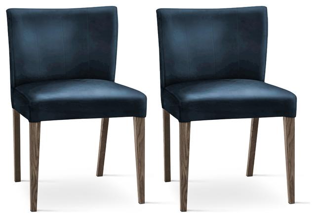 Tyler Blue Velvet Dining Chairs, Set Of 2.