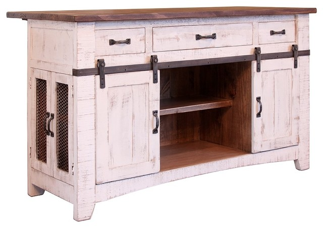 Greenview Kitchen Island Distressed White Farmhouse Islands And