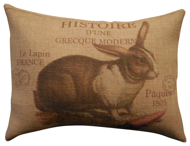 "French Rabbit Burlap Pillow, 12""x16""."
