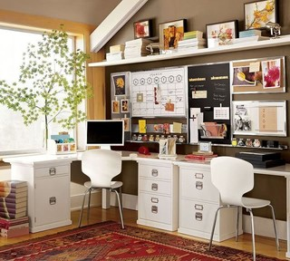 Brown & White Home Office eclectic home office