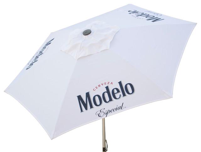 Modelo Especial Beer Push-Up Market Patio Umbrella, 8.5&x27;.