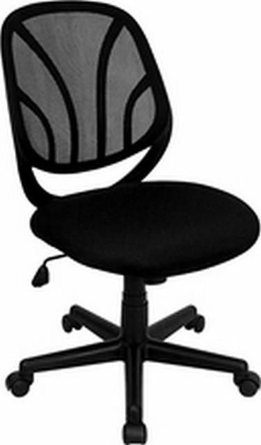 """Black Mesh Chair, 25""""x25""""x34.75""""."""