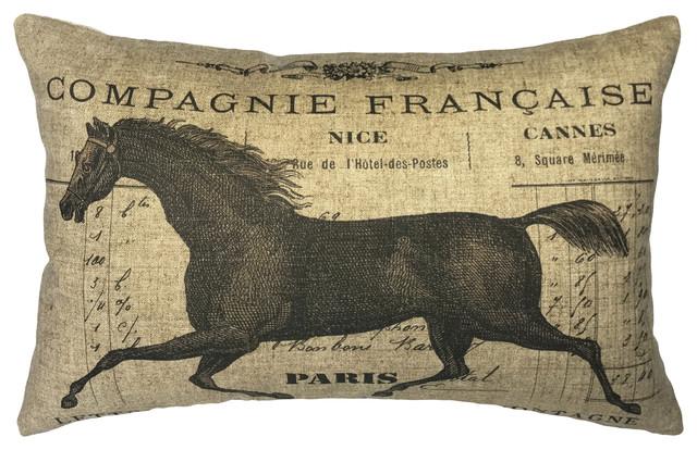 French Horse Linen Pillow.