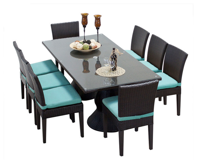 Awesome Saturn Rectangular Outdoor Patio Dining Table With 8 Chairs, 2 For 1 Cover  Set Tropical