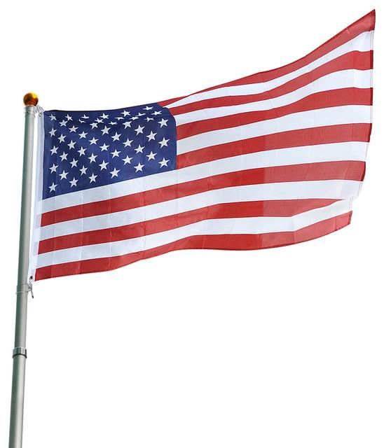 25' Aluminum Telescopic Flagpole and Usa Flag