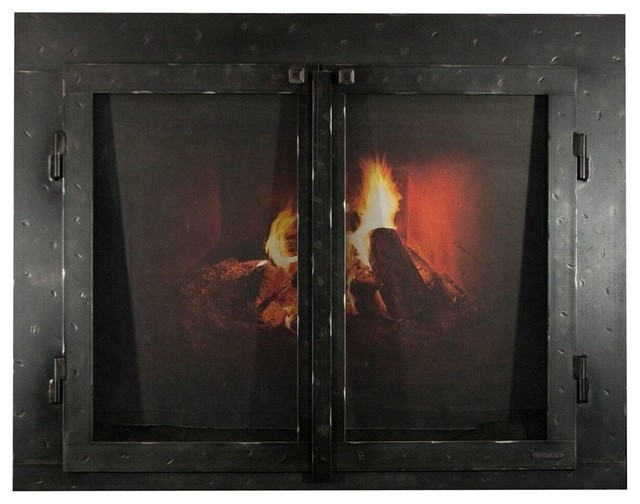"Iron Fireplace Glass Door With Gate Mesh, 4"" Frame, Natural, 41""x27""."