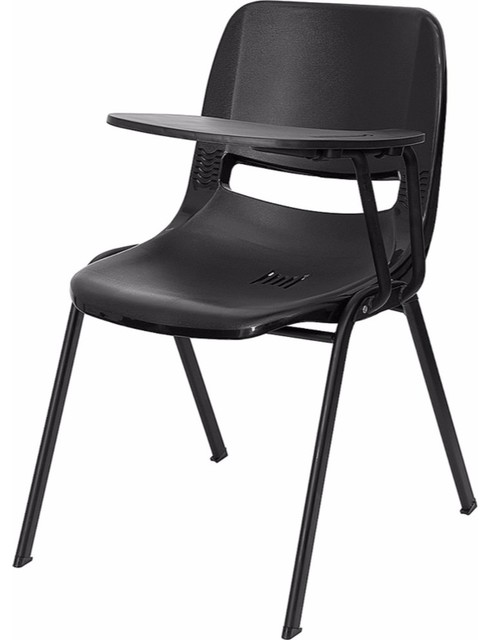 Black Ergonomic Shell Chair With Left Handed Flip-Up Tablet Arm.