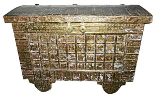 Consigned Hope Chest On Wheels Carved India Br Cladded Trunk