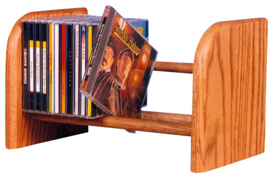 Solid Oak 1 Row Dowel Cd Rack Modern Media Racks And Towers By