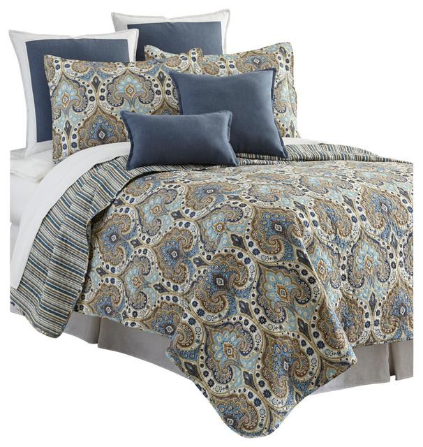 Sherry Kline Broadway Blue 3-piece Reversible Quilt Set - Modern ... : modern quilt set - Adamdwight.com