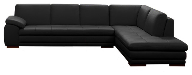 adonis italian leather sectional black rightfacing chaise modern