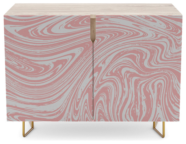 Society6 Credenza, Coral Pink and White Marble Texture on consoles and credenzas, made in usa modern credenzas, modern sideboards with sliding door, country style credenzas, industrial modern credenzas, post modern credenzas, modern sideboards and hutches,