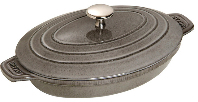 staub oval cast iron plate with lid 1 quart graphite gray - Staub Dutch Oven