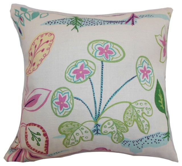 Unayzah Floral Pillow, Spring Time - Contemporary - Decorative Pillows - by The Pillow Collection