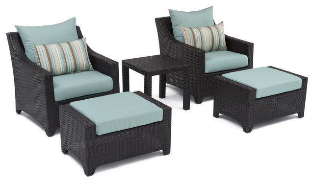 Kokua 5-Piece Chair And Stool Set, Bliss Blue.