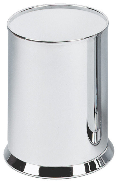 Dwba bath collection dwba round open top stainless steel for Covered bathroom wastebasket