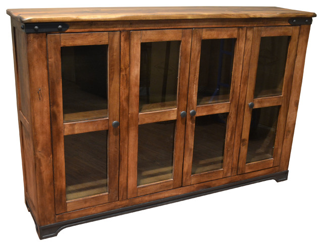 Rustic solid wood bookcase sideboard china cabinet console