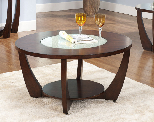 Rafael Round Cocktail Table With Glass Accent, Rf300c.