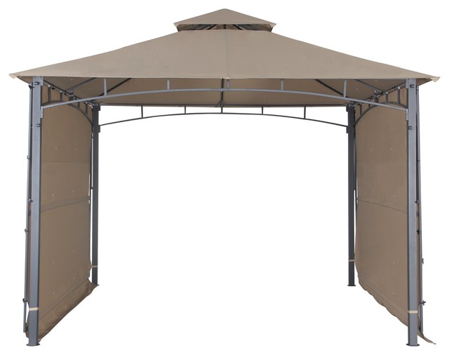 Garden Gazebo With Two Side Sunshade Wall Privacy Curtain Bbq 2 Tiered Canopy.