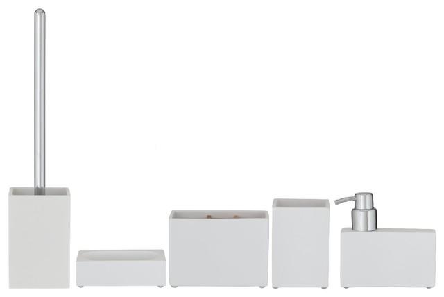 Bathroom Accessories Set Sealskin Cura White Polyresin 5 Piece Set