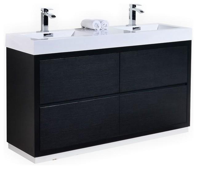 Bliss double sink freestanding modern bathroom vanity 60 - Freestanding double bathroom vanity ...