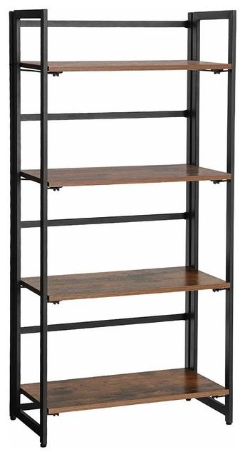 Industrial Bookshelf,4-Tier Ladder Shelf,Metal Frame, Brown ULLS88X