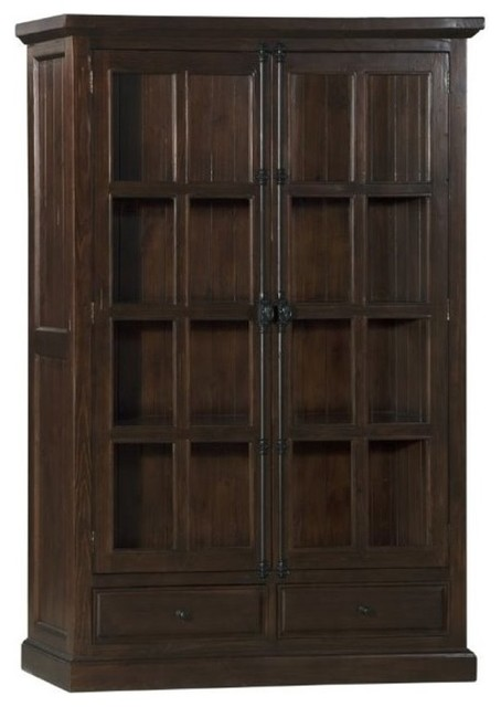 Bowery Hill Double Door Curio Cabinet, Aged Gray - China Cabinets And Hutches - by Homesquare