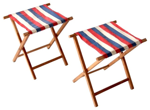 Miraculous Consigned Vintage Stripe Camp Stool Set Of 2 Bralicious Painted Fabric Chair Ideas Braliciousco