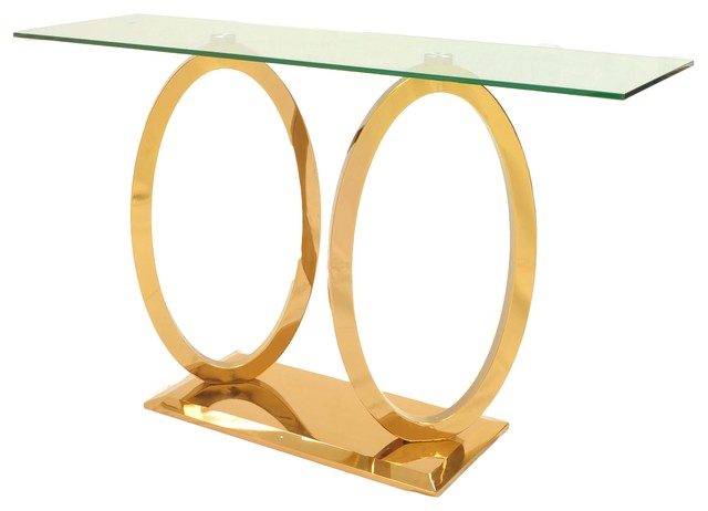 Brielle Console Table, Glass And Rose Gold