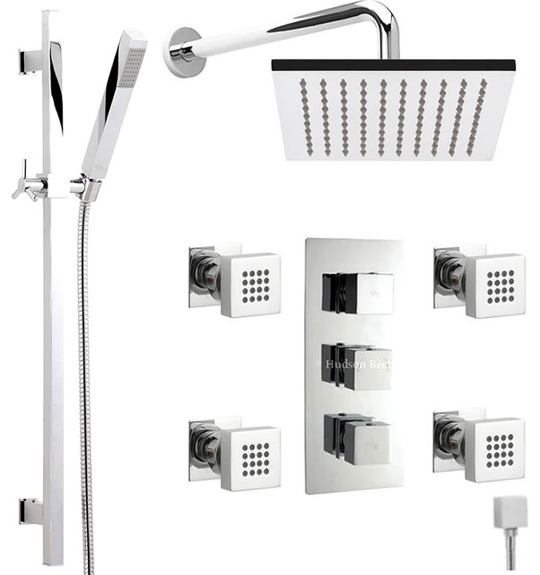 Chrome Thermostatic Shower System With 7 Quot Square Head Rail