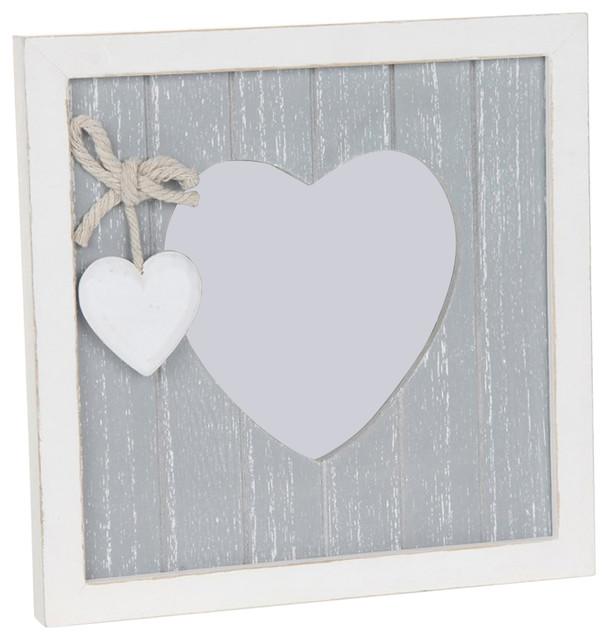 Provence Wood Heart Shaped Aperture Photo Frame, 8x8 cm