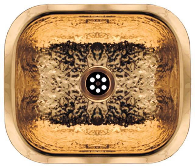 Rectangular Entertainment/Prep Sink Hammered Brass Contemporary Bar Sinks