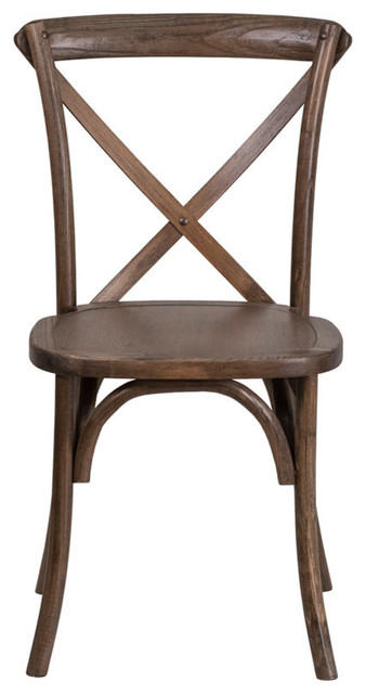 Hercules Series Stackable Early American Wood Cross Back Chair.