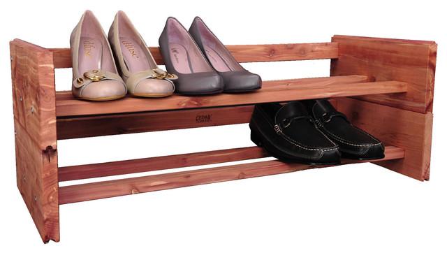 Two-Tier Aromatic Cedar Shoe Rack
