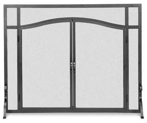 Flat Fireplace Screen W Doors In Black 39 In Width Contemporary Fireplace Screens By