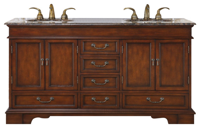 60 Furniture Style Double Sink Vanity With Travertine Traditional