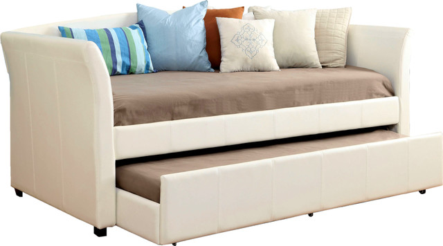 Upholstered Leatherette Daybed With Twin Trundle Casters, White.